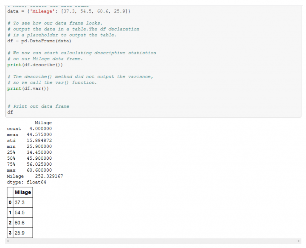 Introduction to Python: The Basics via Descriptive